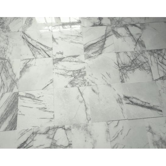 Мрамор Белый с черными прожилками Milas lilac 30*30*2 см