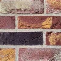 Фасадная плитка Loft Brick Бостон 10 Темно-красный с  бежево-желтыми нотами 210x65 мм