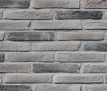 Фасадная плитка Loft Brick Лонг Форд 10 Серый с черными вставками 295x50 мм