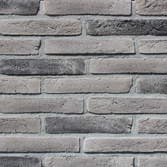 Фасадна плитка Loft Brick Лонг Форд 10 Сірий з чорними вставками 295x50 мм
