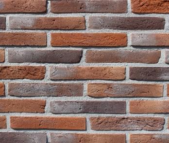 Фасадная плитка Loft Brick Лонг Форд 30 Красно-коричневый с черными вставками 295x50 мм